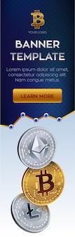 Cryptocurrencyバナーテンプレート。ビットコイン、イーサリアム、ライトコインゴールデンコイン。
