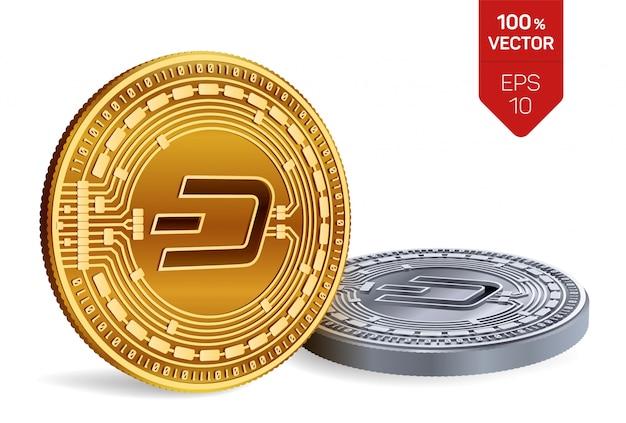 白い背景で隔離のダッシュシンボルとcryptocurrency黄金と銀のコイン。