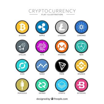 Коллекция красочных монет cryptocurrency