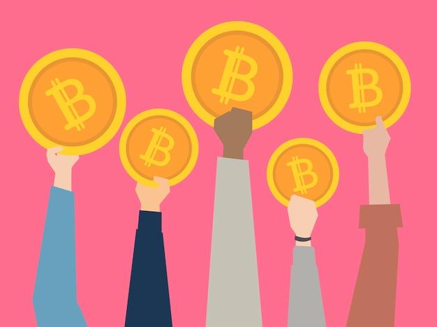 Люди, удерживающие иллюстрации cryptocurrency