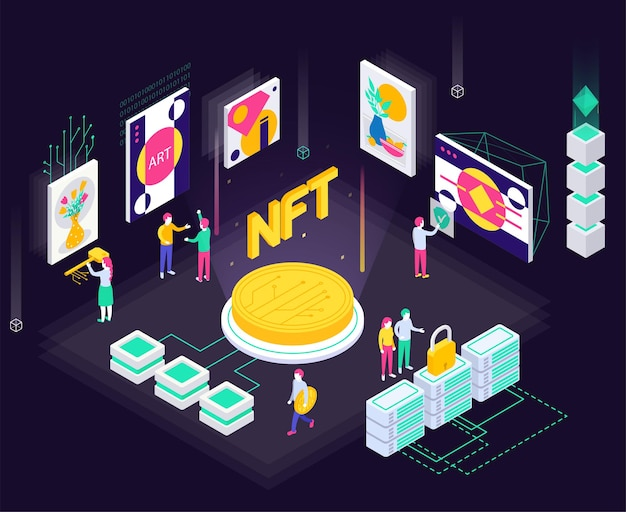 Cryptographic art crypto art nft isometric composition with coin icons