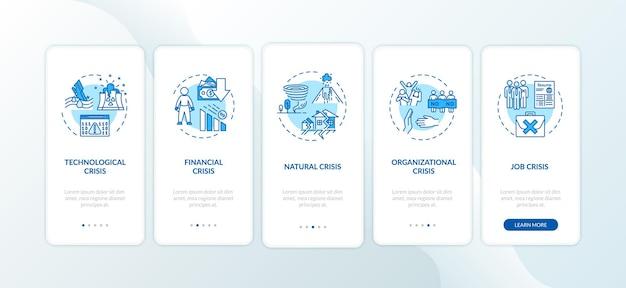 Crysis набирает экран страницы мобильного приложения с концепциями. глобальные катастрофы, чрезвычайные ситуации прохождение пяти шагов графических инструкций. векторный шаблон пользовательского интерфейса с цветными иллюстрациями rgb