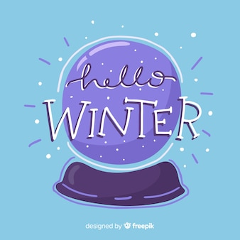 Crystal ball winter background