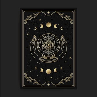 Crystal ball with one glowing eye, held by two hands in a tarot card, decorated with golden clouds, moon circulation, outer space and many stars
