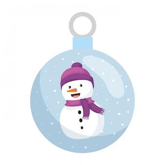 Crystal ball with snowman christmas character