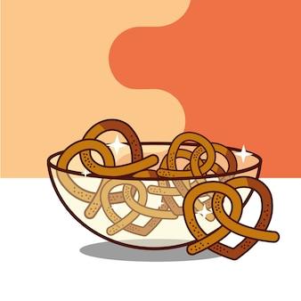 Хрустальная миска с кренделями хлебобулочная продукция