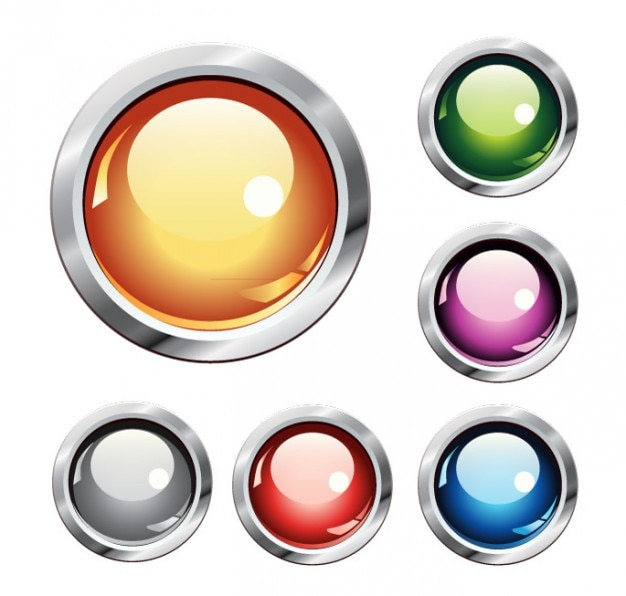 Crystal buttons colorful vector set