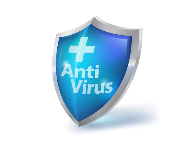クリスタルクリアな青いガラスシールド、白い背景の上のウイルス対策。未来の技術コンセプトファイアウォール医学医療機器。