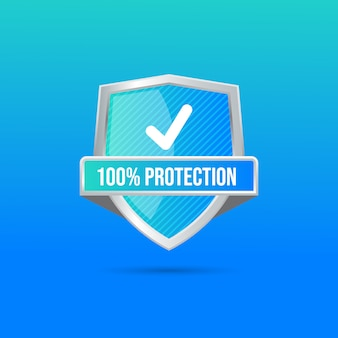Crystal clear blue green red glass shield, anti virus futuristic technology concept firewall