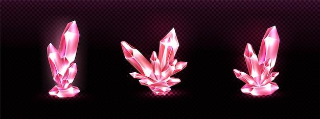 ピンクの輝く光のオーラを持つクリスタルクラスター