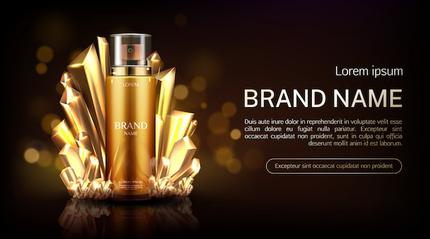 Crystal cosmetics spray bottle banner.