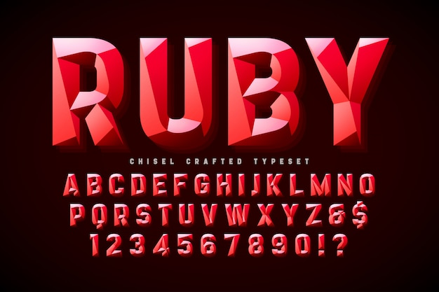 Crystal display font with facets, alphabet, letters