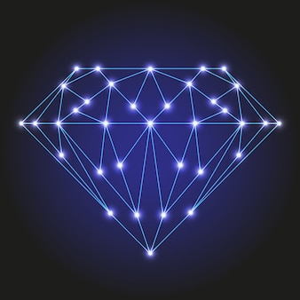 Crystal or faceted gem from polygonal blue lines and glowing stars