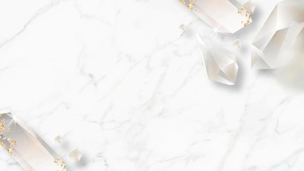 Crystal frame design on marble background