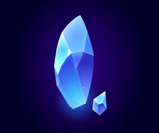 Crystal gem, blue magic gemstones isolated icons