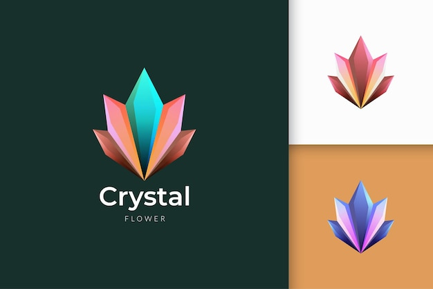 Crystal or gem logo with shiny colorful for jewelry and beauty