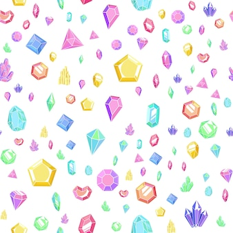 Crystal and gem seamless pattern. bright abstract texture with crystals and gems, minerals and diamonds. vector colorful background with isolated elements