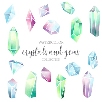 Crystal and gem watercolor collection