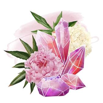 花のイラストデザインとクリスタルの宝石 Premiumベクター
