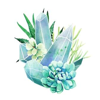 Succulents, 풀 컬러 장식 예술, 귀여운 구성, 손으로 그린 수채화 일러스트와 함께 크리스탈 보석
