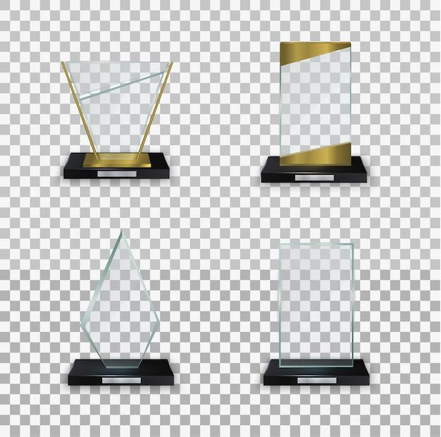 크리스탈 유리 빈 트로피. 수상 그림에 대한 광택 투명 상. 흰색 바탕에 유리 반짝 트로피입니다. 현대 상품의 삽화 모음.