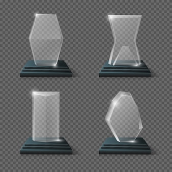 Crystal glass trophy winning business awards set. prize for sport winner illustration
