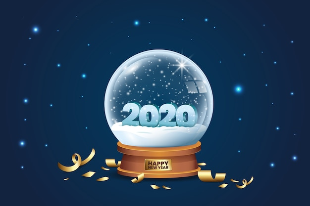 Crystal globe with snow and confetti for 2020 new year