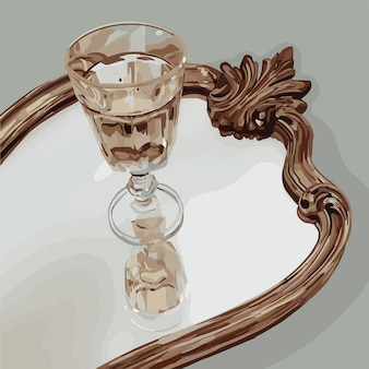 A crystal goblet stands on the mirror. vector fashion illustration