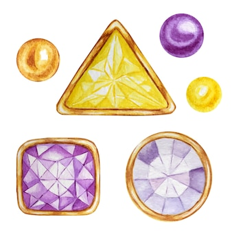Crystal in a gold frame and jewelry beads. hand drawn watercolor diamond.