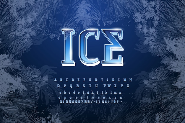 Crystal ice type font alphabet. frozen letters, numbers and punctuation marks.