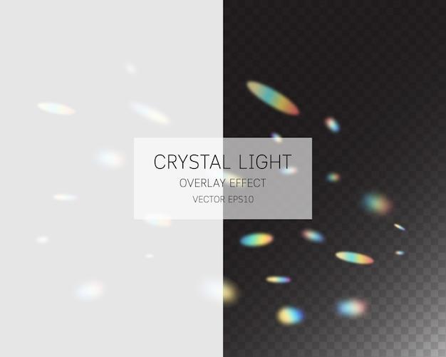 クリスタルライトオーバーレイ効果。背景に分離された抽象的な光オーバーレイ効果。