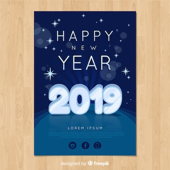 Crystal number new year poster template