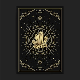 Crystal rock, stone or gems, in tarot cards, decorated with golden clouds, moon, outer space and many stars