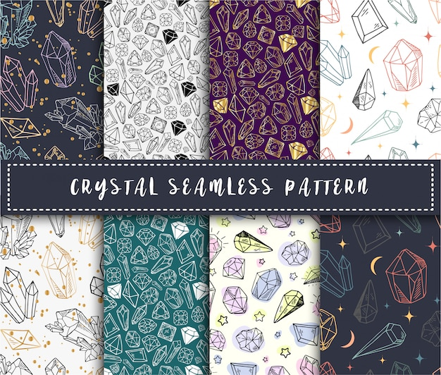 Crystal seamless pattern - colorful rainbow crystals or gems on white background
