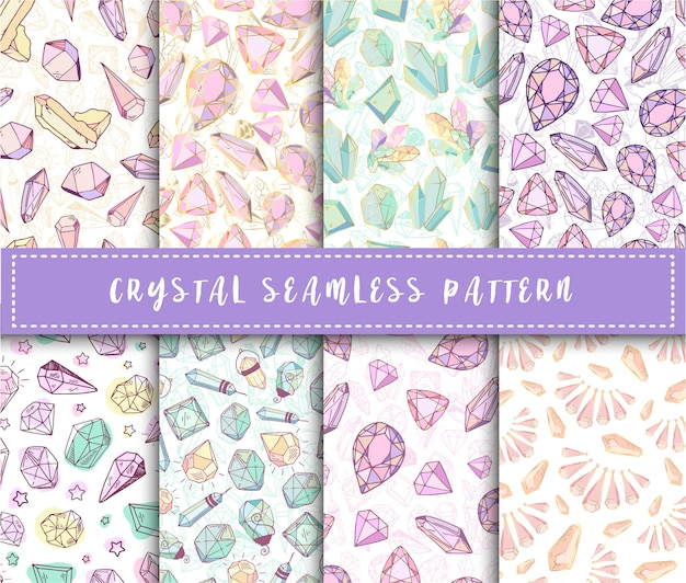 Crystal seamless pattern - set