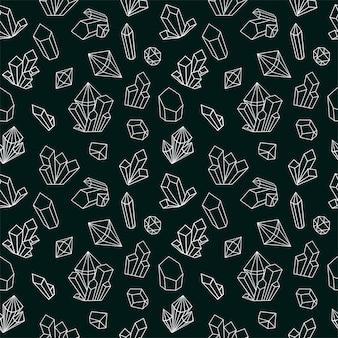 ライン宝石アイコンとクリスタルのシームレスなパターン。黒と白のスタイルのダイヤモンドの背景。