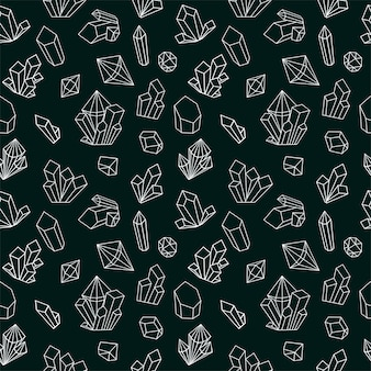 Crystal seamless pattern with line gemstone icons. black and white style diamonds background.