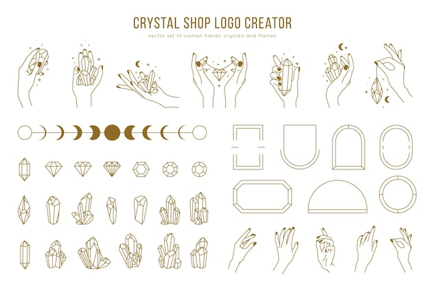 Crystal shop   logo creator with different woman hands, frames, gemstones and female hands holding crystals. trendy minimal linear style