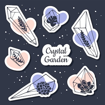 Crystal stickers set with floral elements