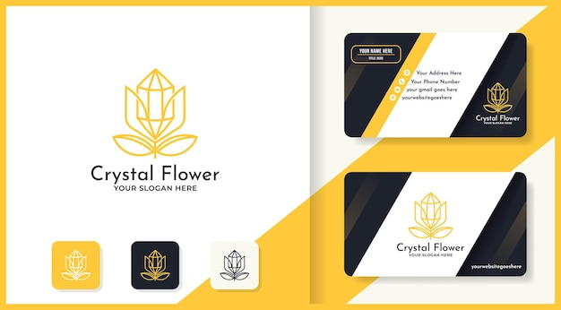 Crystal stone flower logo and business card design