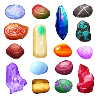 Crystal stone rocks icons set