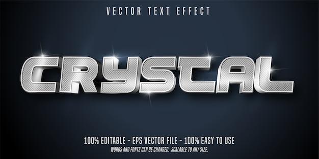 Кристаллический текст, блестящий серебряный стиль, редактируемый текстовый эффект