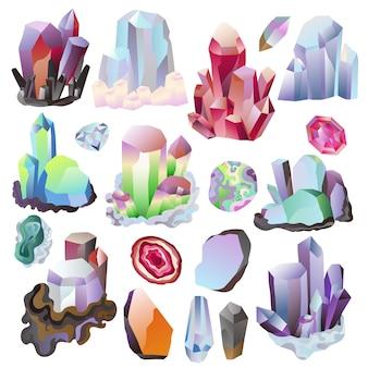 Crystal vector crystalline stone or precious gemstone for jewellery illustration set of jewel gem