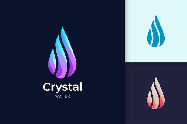 Crystal water logo for beauty and cosmetic brand