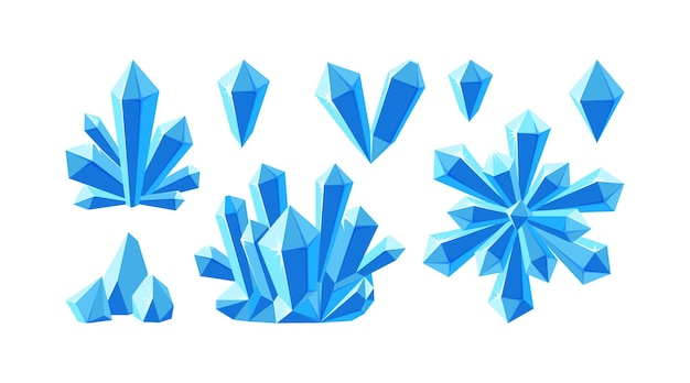 Crystals and blue gemstones. stalagmite, snowflake and ice crystals. frozen gems of various shapes