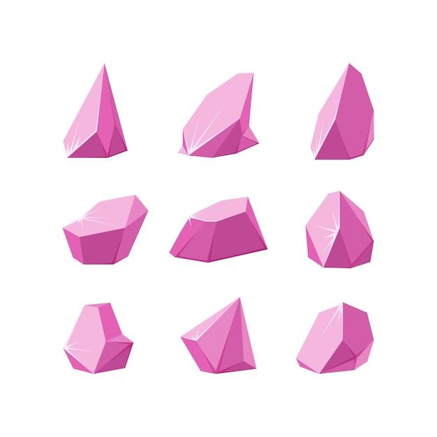 粉々に砕けたクリスタル砕いたピンクのクリスタルのセットアメジストでできた壊れた宝石