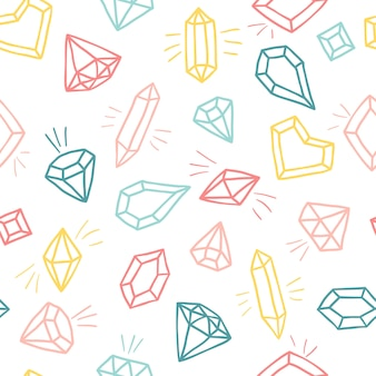 Crystals in cartoon style.   seamless pattern . hand drawn sketch diamonds and gemstones in colorful colors.