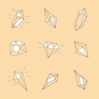 Crystals collection in doodle linear style