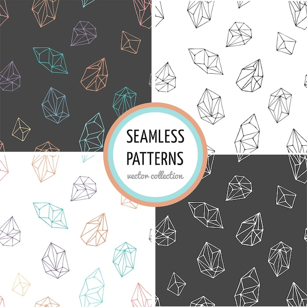 Crystals - collection of seamless hand drawn modern patterns