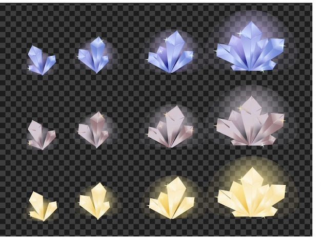 Crystals evolution from small to large
